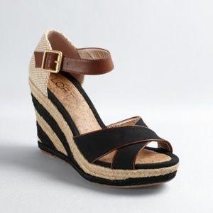 LOFT Espadrille Wedge Heel Sandal, Natural & Black